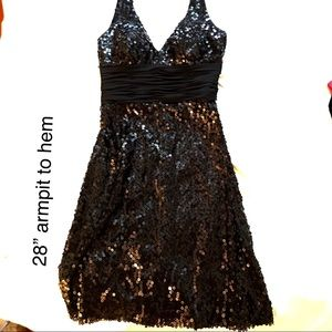 Black sequin halter top cocktail dress